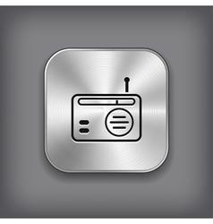 Radio icon - metal app button vector image