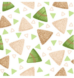rice dumpling with bamboo leaf seamless pattern vector image