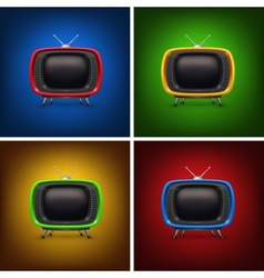 Set retro color tv with background vector image vector image