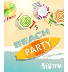 Beach Summer Party Poster vector image vector image