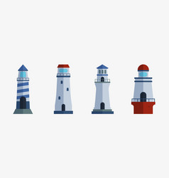cartoon flat lighthouse searchlight tower for vector image vector image