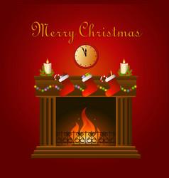 christmas decoration around fire vector image