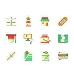 Flat color design chemists shop icons vector image vector image