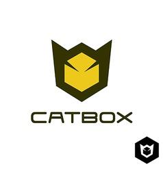 Geometric cat head logo idea vector image