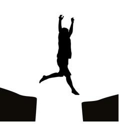 man jumping over a gap vector image vector image