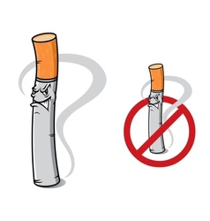 Sign no smoking with danger cigarette vector image vector image