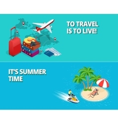 Summer time and travel concept Two banners or vector image vector image