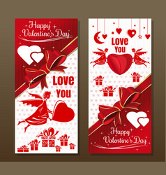vintage greeting card for valentines day vector image