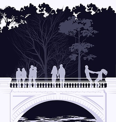bridge in the park vector image vector image
