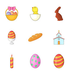 easter celebration icons set cartoon style vector image