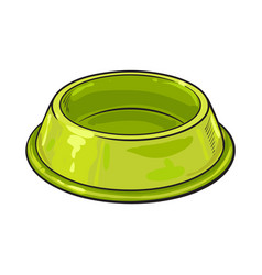 empty green shiny plastic bowl for pet cat dog vector image
