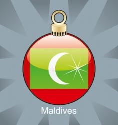 Maldives flag on bulb vector image vector image