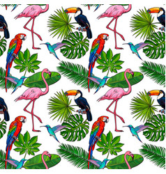 Seamless pattern backdrop design of tropical palm vector