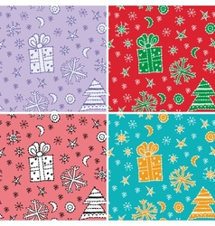 set seamless pattern new year symbol sketch vector image vector image