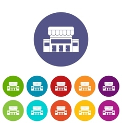 Supermarket building set icons vector image