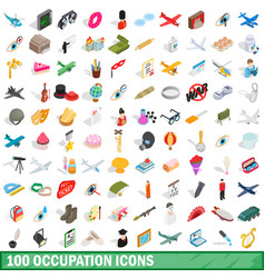 100 occupation icons set isometric 3d style vector