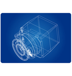 3d model of the safe on a blue vector image