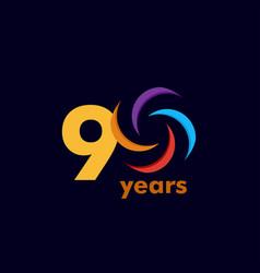 90 year anniversary rainbow template design vector