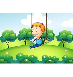 A boy exercising at the hill vector image vector image