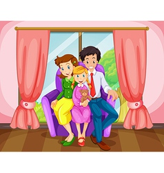 A family at the living room vector image