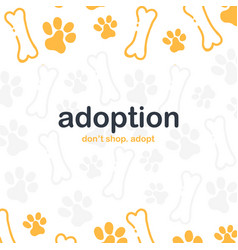 Adoption dont shop adopt banner with cat or dog vector
