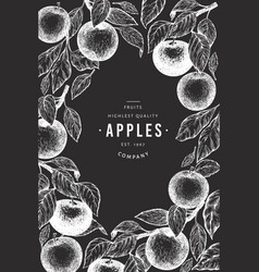apple branches design template hand drawn garden vector image