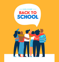 back to school diverse student friend group card vector image