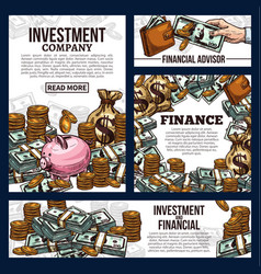 banners for investment company vector image