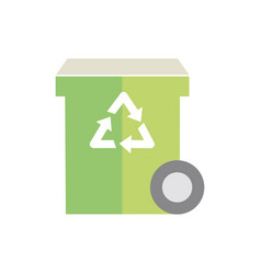 bin recycle waste with wheel green energy icon vector image