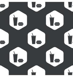 Black hexagon fast food pattern vector image