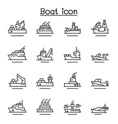 boat ship icon set in thin line style vector image