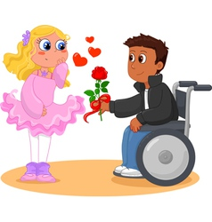 Boy on wheelchair and pretty girl vector
