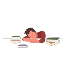 Boy sitting at desk and sleeping or taking nap vector