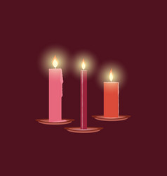 Burning candles christmas decorations leaking vector