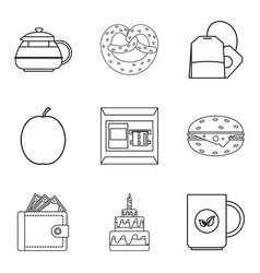 Cake time icon set outline style vector