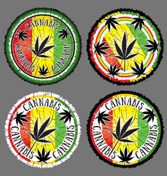 cannabis leaf silhouette design jamaican flag back vector image