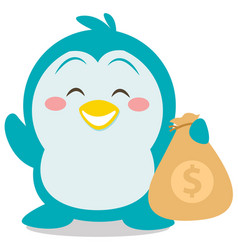 Character penguin with money vector