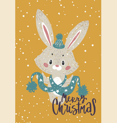 christmas poster with bunny vector image