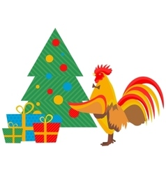 Cock decorates Christmas tree vector