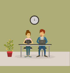 Color background with couple man and woman sitting vector