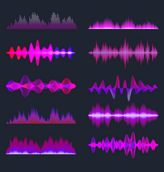 Colorful sound waves collection analog vector
