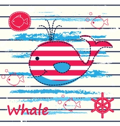 Cute background with whale vector