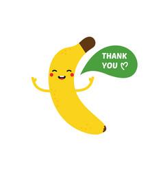 cute smiling cartoon banana saying thank you vector image