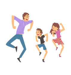 dad daughter and son jumping or dancing father vector image