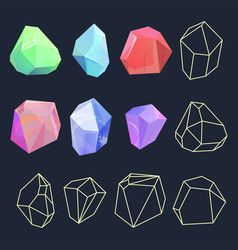 design of crystal polygon shapes vector image