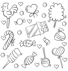 doodle of candy sweet sketch vector image