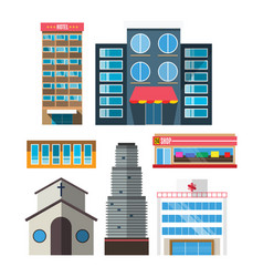 Downtown skyscraper shop on shiny glass facades vector