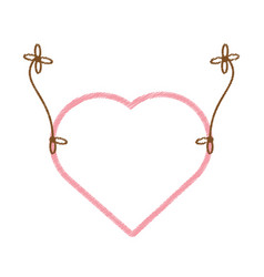 Drawing love heart hanging decorative vector