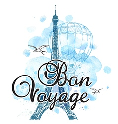 Eiffel Tower and air balloon vector