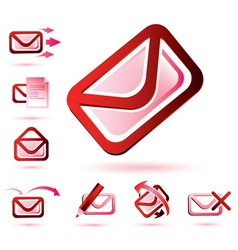 Email icons set isolated glossy symbols vector